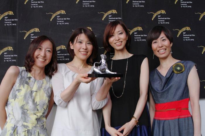Happy Hour, Concurso Internacional, Leopardo para la Mejor Actuación Femenina. Desde la izq. Kawamura Rira, Mihara Maiko, Kikuchi Hazuki y Tanaka Sachie